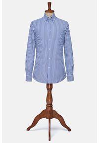 Lancerto - Koszula w Niebieski Prążek Vasto. Okazja: na co dzień. Typ kołnierza: button down. Kolor: niebieski. Materiał: bawełna, tkanina. Wzór: prążki. Styl: klasyczny, casual, vintage