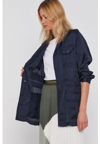 DKNY - Dkny - Marynarka. Kolor: niebieski. Materiał: tkanina, satyna, materiał. Wzór: ze splotem. Styl: klasyczny