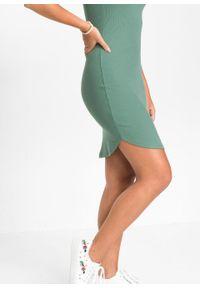 Sukienka shirtowa bonprix zielony. Kolor: zielony. Wzór: prążki