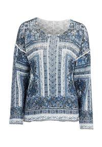 Cellbes Sweter w kwiaty niebieski we wzory female niebieski/ze wzorem 54/56. Kolor: niebieski. Długość rękawa: długi rękaw. Długość: długie. Wzór: kwiaty. Styl: elegancki