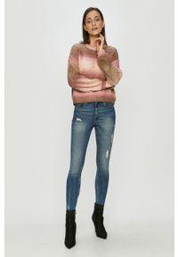Różowy sweter Vero Moda z długim rękawem, długi
