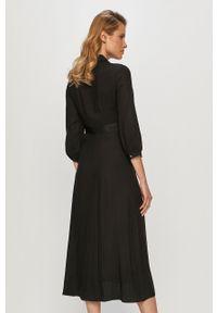 Calvin Klein - Sukienka. Kolor: czarny. Materiał: tkanina. Typ sukienki: rozkloszowane