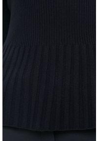 Niebieski sweter Hugo długi, z okrągłym kołnierzem, z długim rękawem