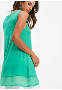 Długi top z szyfonową wstawką bonprix zielony oceaniczny - srebrny. Kolor: zielony. Materiał: szyfon. Długość: długie. Wzór: nadruk