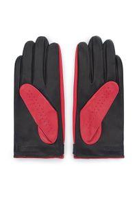 Wittchen - Damskie rękawiczki skórzane dwukolorowe. Kolor: wielokolorowy, czerwony, czarny. Materiał: skóra. Styl: elegancki