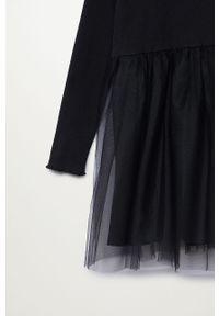 Czarna sukienka Mango Kids rozkloszowana, ze stójką, z długim rękawem #4