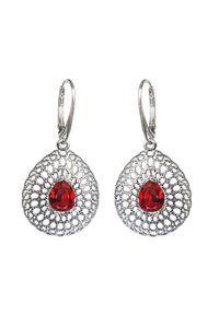 Polcarat Design - Srebrne rodowane kolczyki z kryształami Swarovski K 2025. Materiał: srebrne. Kolor: srebrny. Kamień szlachetny: kryształ