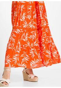 Długa sukienka z nadrukiem bonprix pomarańczowy wzorzysty. Kolor: pomarańczowy. Materiał: koronka. Wzór: nadruk. Długość: maxi
