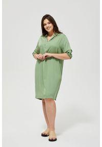 Zielona sukienka MOODO z koszulowym kołnierzykiem, na co dzień, koszulowa, casualowa