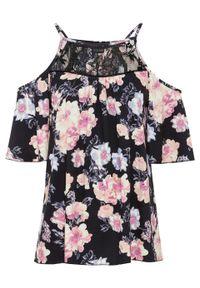Shirt cold-shoulder z koronką bonprix czarny w kwiaty. Kolor: czarny. Materiał: koronka. Długość rękawa: krótki rękaw. Długość: krótkie. Wzór: kwiaty, koronka