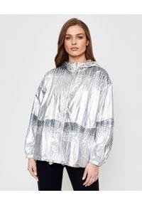 Pinko - PINKO - Srebrna kurtka z cekinami Scottish. Typ kołnierza: kaptur. Kolor: srebrny. Materiał: tkanina, nylon, jeans. Wzór: aplikacja. Sezon: lato, wiosna