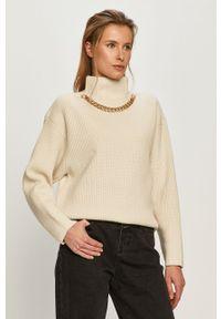 Kremowy sweter Miss Sixty klasyczny, długi, z długim rękawem