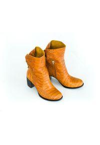 Botki Zapato z cholewką za kostkę, w kolorowe wzory, na klamry