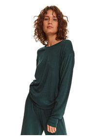 TOP SECRET - Bluza w prążki ze ściągaczem po bokach. Kolor: zielony. Materiał: dzianina. Długość rękawa: długi rękaw. Długość: długie. Wzór: prążki. Sezon: zima