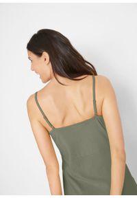 Letnia sukienka z dżerseju na cienkich, regulowanych ramiączkach bonprix oliwkowy. Kolor: zielony. Materiał: jersey. Długość rękawa: na ramiączkach. Sezon: lato