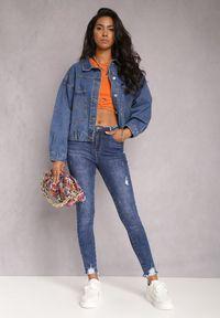 Renee - Granatowe Jeansy Skinny Hipponia. Kolor: niebieski. Wzór: aplikacja. Styl: elegancki #5