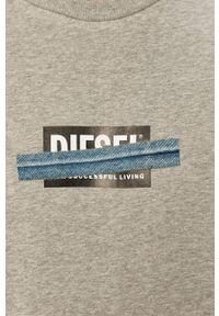 Diesel - Bluza bawełniana. Okazja: na co dzień. Kolor: szary. Materiał: bawełna. Wzór: nadruk. Styl: casual