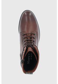 Marc O'Polo - Botki skórzane. Nosek buta: okrągły. Kolor: czerwony. Materiał: skóra