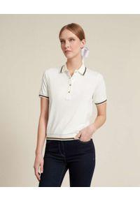 Luisa Spagnoli - LUISA SPAGNOLI - Kremowa koszula polo Biglietto. Typ kołnierza: polo. Kolor: beżowy. Materiał: jeans, wiskoza, prążkowany, jersey. Wzór: aplikacja, paski. Styl: klasyczny