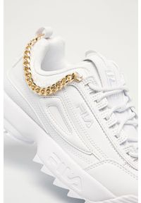 Białe sneakersy Fila na obcasie, z okrągłym noskiem, z cholewką, na sznurówki