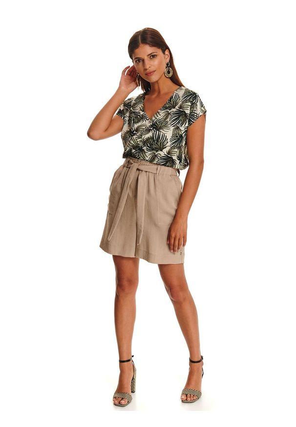 Zielona koszula TOP SECRET w kolorowe wzory, z dekoltem w kształcie v