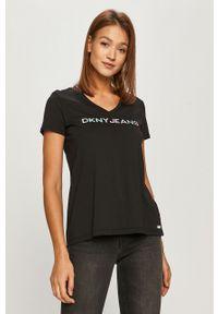 Czarna bluzka DKNY na co dzień, z nadrukiem