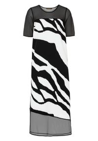Sukienka midi z nadrukiem bonprix czarno-biały w paski zebry. Kolor: czarny. Wzór: motyw zwierzęcy, paski, nadruk. Długość: midi