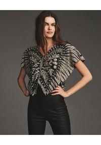 RETROFETE - Czarna bluzka ze zdobieniem Camila. Kolor: czarny. Wzór: aplikacja