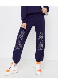 OFF-WHITE - Granatowe spodnie dresowe. Kolor: niebieski. Materiał: dresówka. Wzór: haft, aplikacja