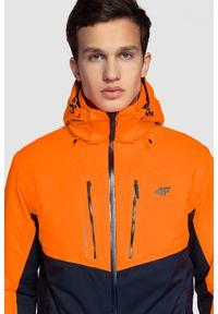 Niebieska kurtka narciarska 4f na zimę, ze stójką