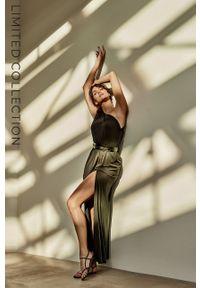 Answear Lab - answear.LAB X Paulina Krupińska Sukienka z certyfikatem OEKO-TEX kolekcja limitowana Ethical Wardrobe. Kolor: czarny. Materiał: włókno, dzianina, poliamid. Wzór: gładki. Typ sukienki: dopasowane. Styl: wakacyjny