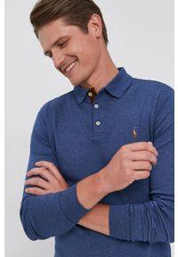 Polo Ralph Lauren - Longsleeve. Typ kołnierza: polo. Kolor: niebieski. Materiał: dzianina. Długość rękawa: długi rękaw. Wzór: gładki