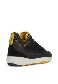 Czarne sneakersy Geox na średnim obcasie, na sznurówki, z cholewką, z okrągłym noskiem