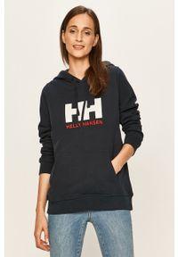 Niebieska bluza Helly Hansen z długim rękawem, z nadrukiem, z kapturem, długa