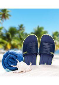 Niebieskie klapki na basen LANO na plażę, na obcasie, na średnim obcasie