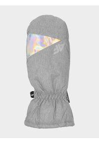 4f - Rękawiczki narciarskie dziewczęce. Kolor: szary. Materiał: materiał. Sport: narciarstwo