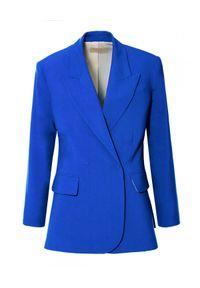 AGGI - Niebieska marynarka z jedwabiem Ramona. Kolor: niebieski. Materiał: jedwab. Styl: elegancki