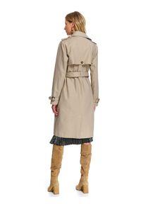 Beżowy płaszcz TOP SECRET elegancki, na wiosnę