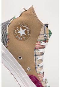 Wielokolorowe wysokie trampki Converse z okrągłym noskiem, z cholewką