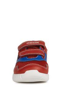 Czerwone buty sportowe Geox z okrągłym noskiem, na rzepy, z cholewką