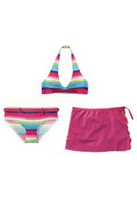 Bikini dziewczęce + spódniczka (3 części) bonprix ciemnoróżowy w paski. Kolor: różowy. Wzór: paski