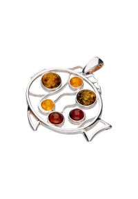 Polcarat Design - Srebrny wisiorek ryba z bursztynami BW 106. Materiał: srebrne. Kolor: srebrny. Wzór: aplikacja. Kamień szlachetny: bursztyn