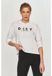 DKNY - Dkny - Bluza. Okazja: na co dzień. Typ kołnierza: kaptur. Kolor: biały. Długość rękawa: długi rękaw. Długość: długie. Wzór: nadruk. Styl: casual
