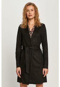 Czarny płaszcz Vila na co dzień, bez kaptura, klasyczny