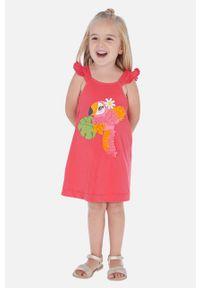 Różowa sukienka Mayoral z okrągłym kołnierzem, mini, prosta