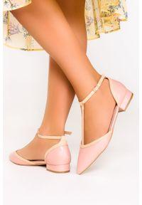 Casu - Różowe baleriny casu t-bar z paskiem wokół kostki d21x12/p. Zapięcie: pasek. Kolor: różowy