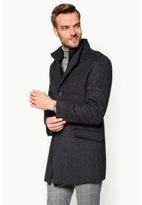 Szary płaszcz Lancerto krótki, ze stójką, w kratkę