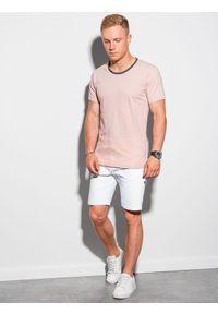 Ombre Clothing - T-shirt męski bawełniany S1385 - brzoskwiniowy - XXL. Kolor: pomarańczowy. Materiał: bawełna. Styl: klasyczny