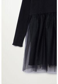 Czarna sukienka Mango Kids rozkloszowana, ze stójką, z długim rękawem