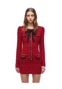 SELF PORTRAIT - Czerwona sukienka z długim rękawem. Typ kołnierza: kokarda. Kolor: czerwony. Materiał: bawełna, wełna. Długość rękawa: długi rękaw. Długość: mini